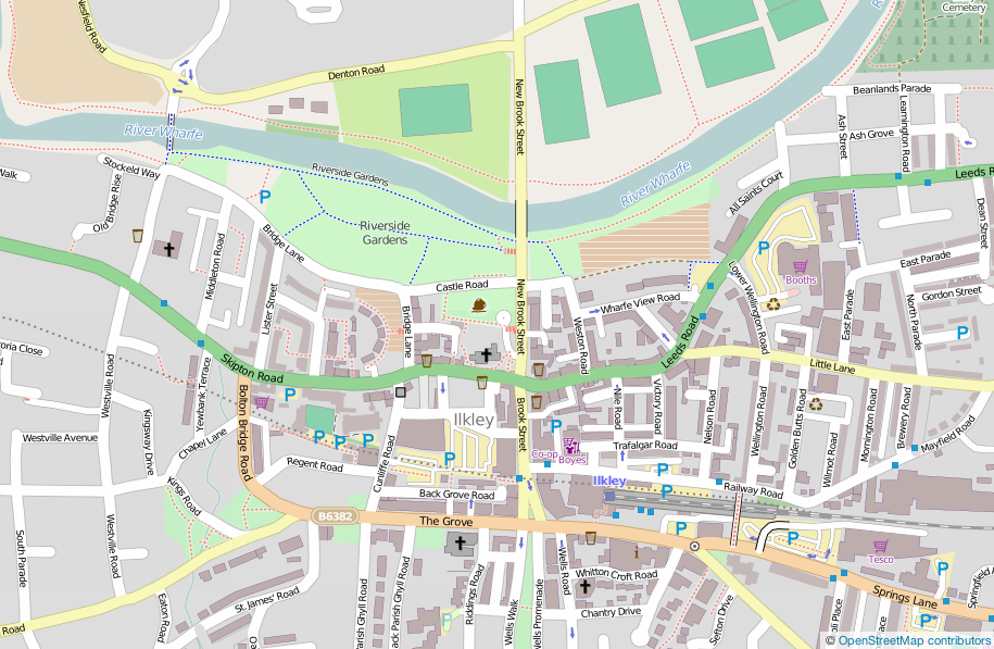 Map showing Ilkley town centre and Riverside Gardens
