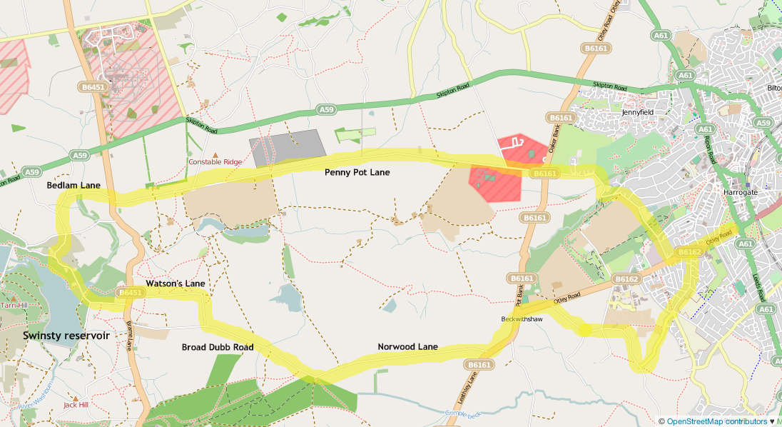 Map showing Penny Pot Lane cycle route west of Harrogate