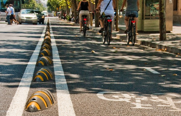 Recycled plastic 'armadillo' cycle lane separators