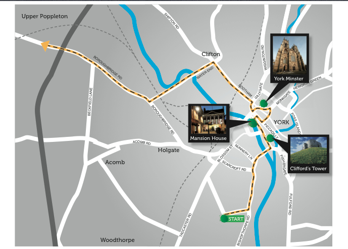 Route map of Tour de France 2014 in York
