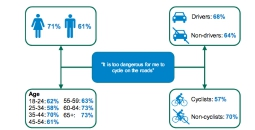 66% say it's too dangerous to cycle on roads