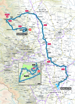 UCI 2019 Yorkshire Worlds U23 men's road race route map