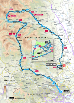UCI 2019 Yorkshire Worlds elite men's road race route map