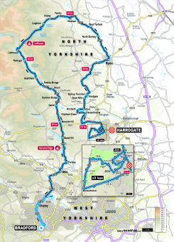 UCI 2019 Yorkshire Worlds elite women's road race route map