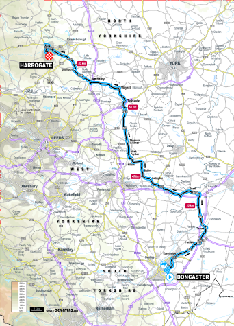 Junior women's road race map, UCI 2019