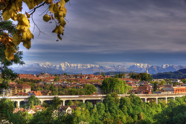 Bern, and mountains behind