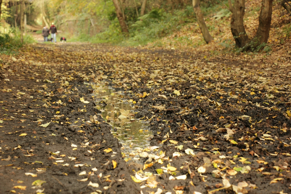 Muddy section of Cinder Track near Whitby