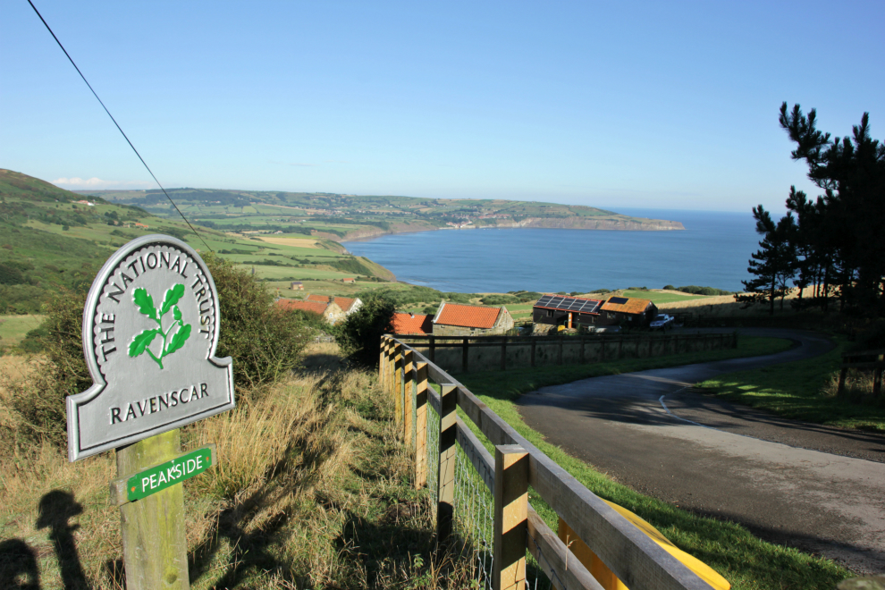 National Trust sign and view from Peakside, Ravenscar