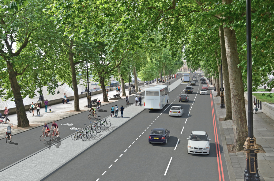 Proposed cycle superhighway on Embankment