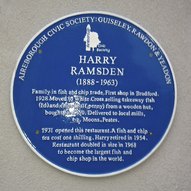 Harry Ramsden blue plaque, White Cross