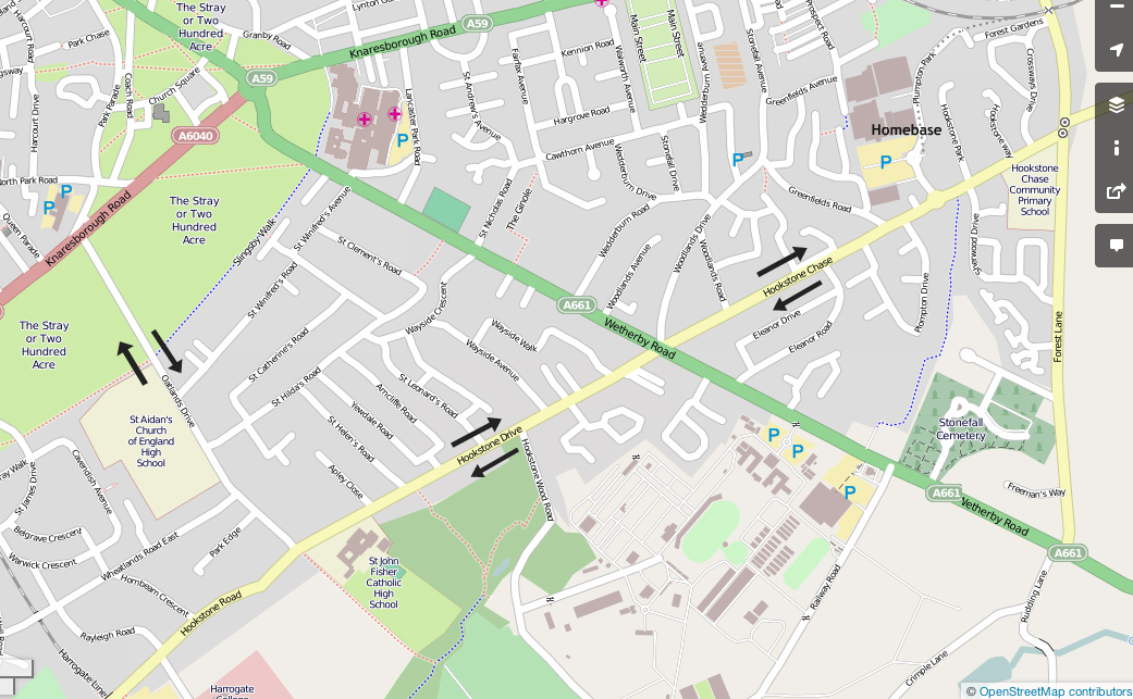Map showing Oatlands Drive, Hookstone Drive & Hookstone Chase
