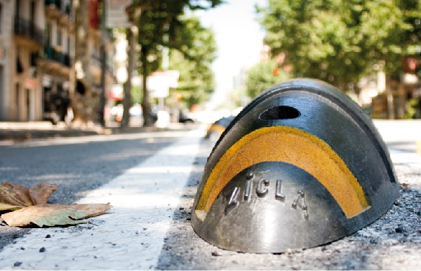 'Armadillo' cycle lane separators made by Zicla in Spain