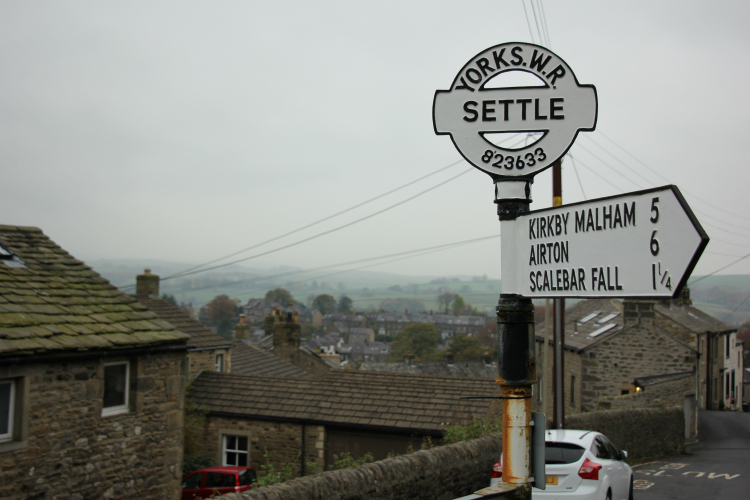 Signpost for Settle, North Yorkshire