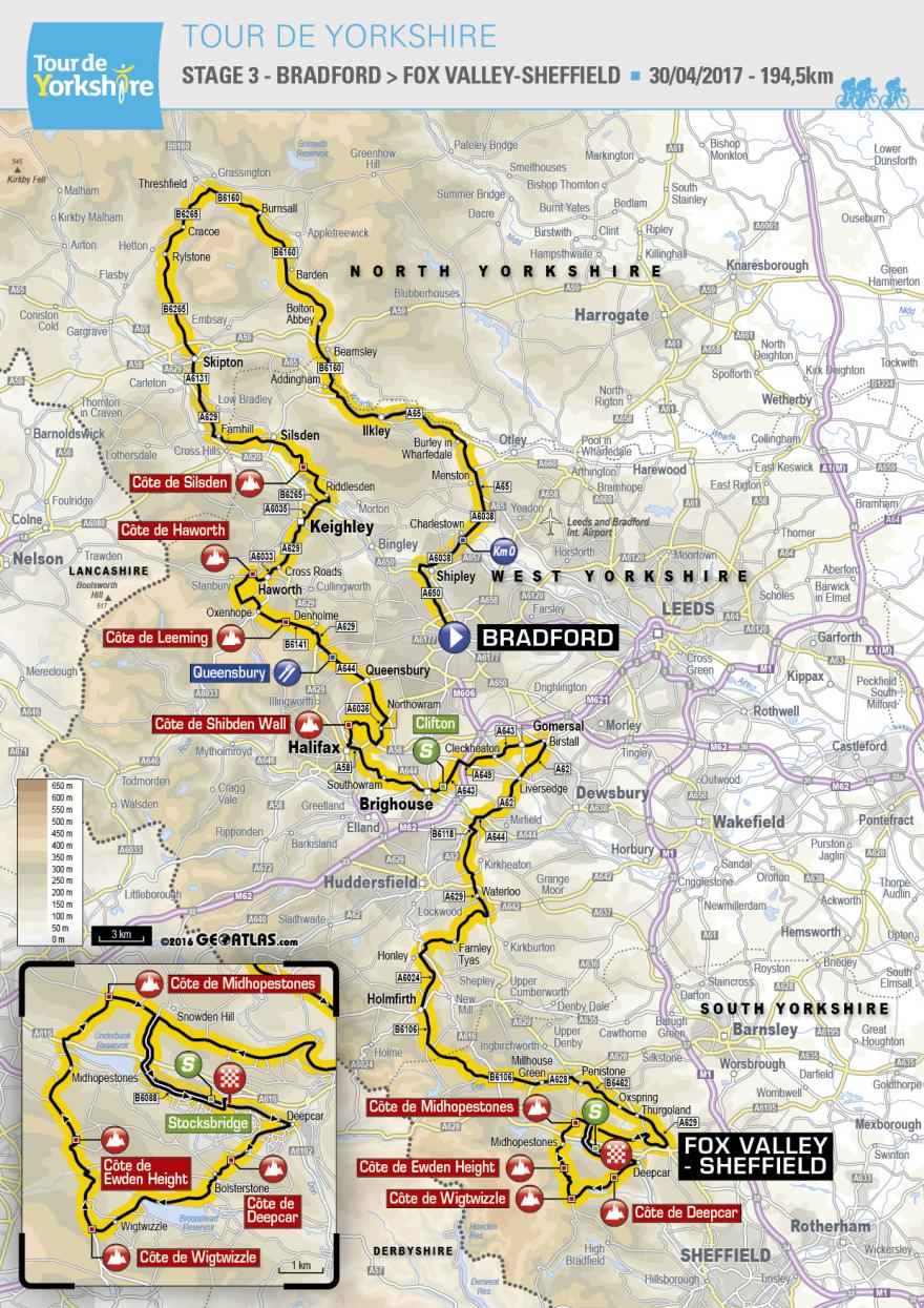 Map of Stage 3, Tour de Yorkshire 2017