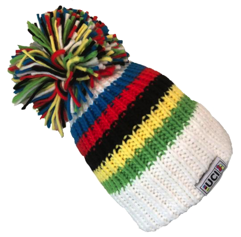 Big Bobble Hat with UCI rainbown stripes